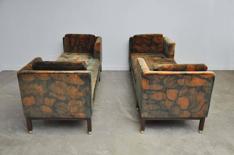 Brass Dunbar Tete-a-tete Sofas by Edward Wormley For Sale