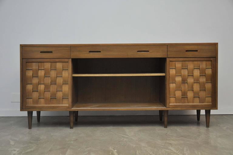 Mid-Century Modern Dunbar Woven Front Credenza by Edward Wormley For Sale