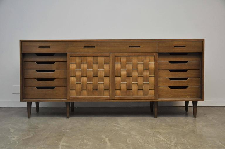 American Dunbar Woven Front Credenza by Edward Wormley For Sale