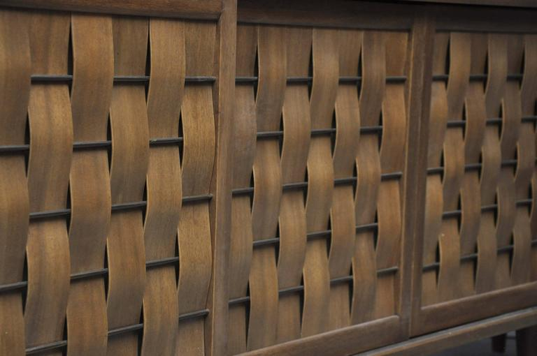 20th Century Dunbar Woven Front Credenza by Edward Wormley For Sale