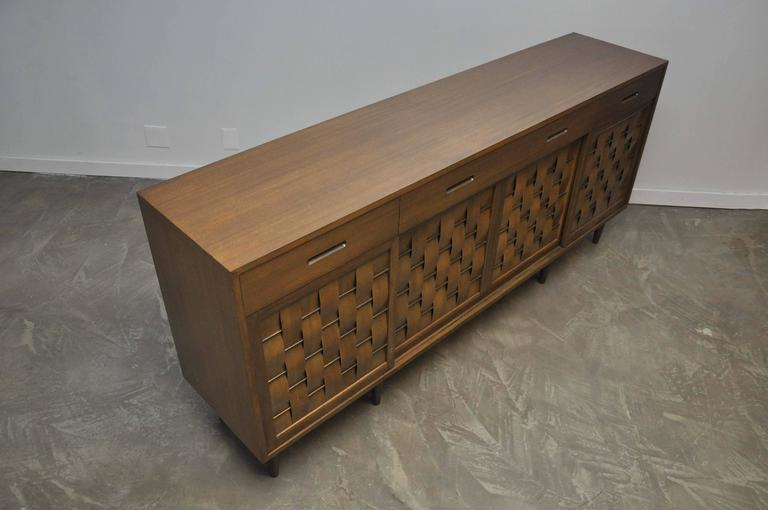 Brass Dunbar Woven Front Credenza by Edward Wormley For Sale