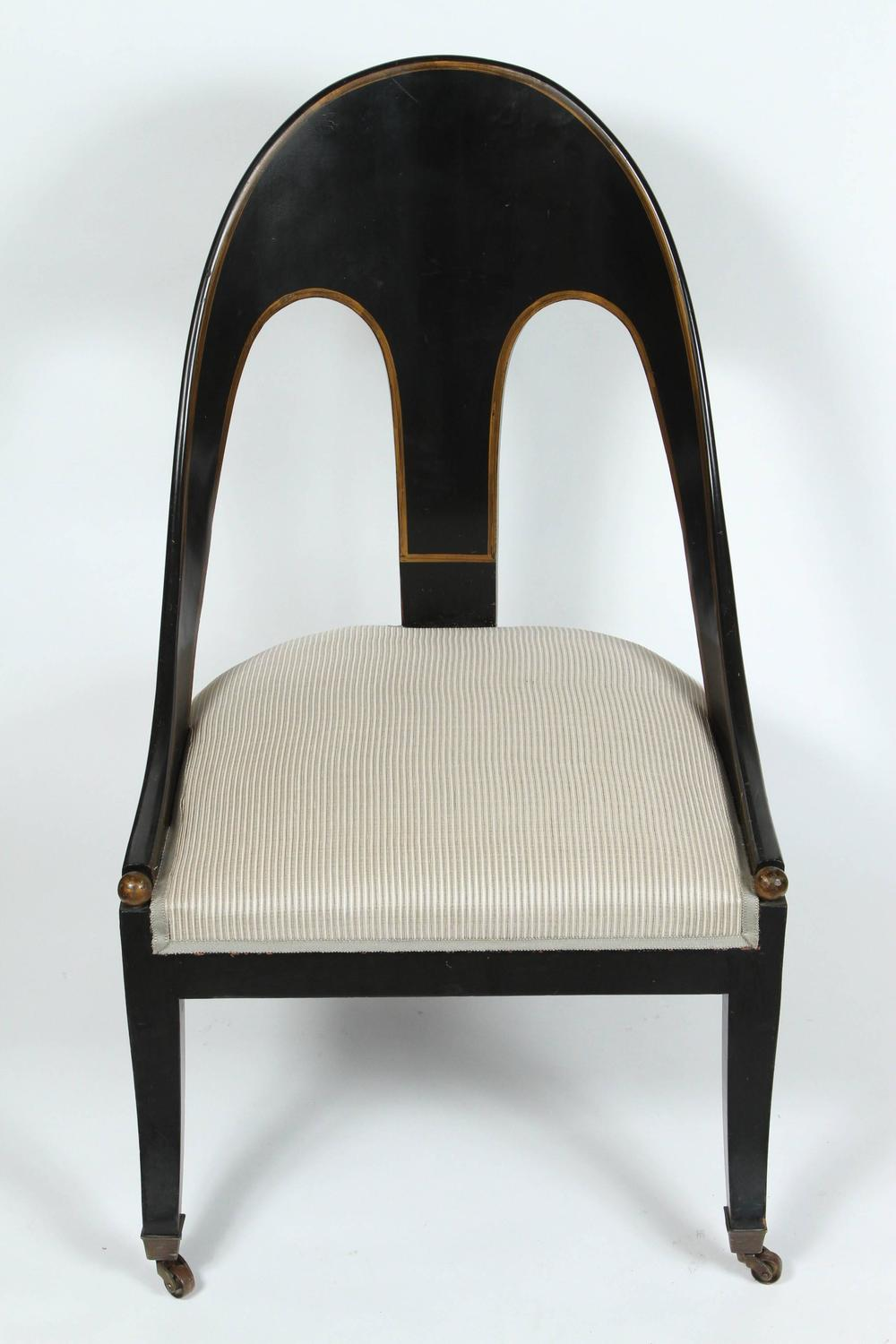 A Pair Of Regency Style Spoon Back Chairs Circa 1960 At 1stdibs