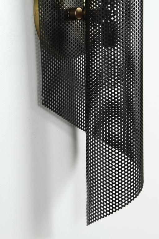 Mid-Century Modern Rolled Perforated Sconce by Lawson-Fenning For Sale