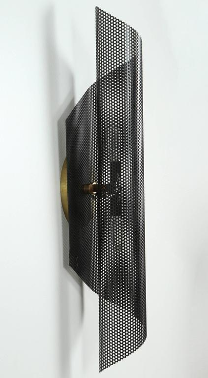 Rolled Perforated Sconce by Lawson-Fenning For Sale 2