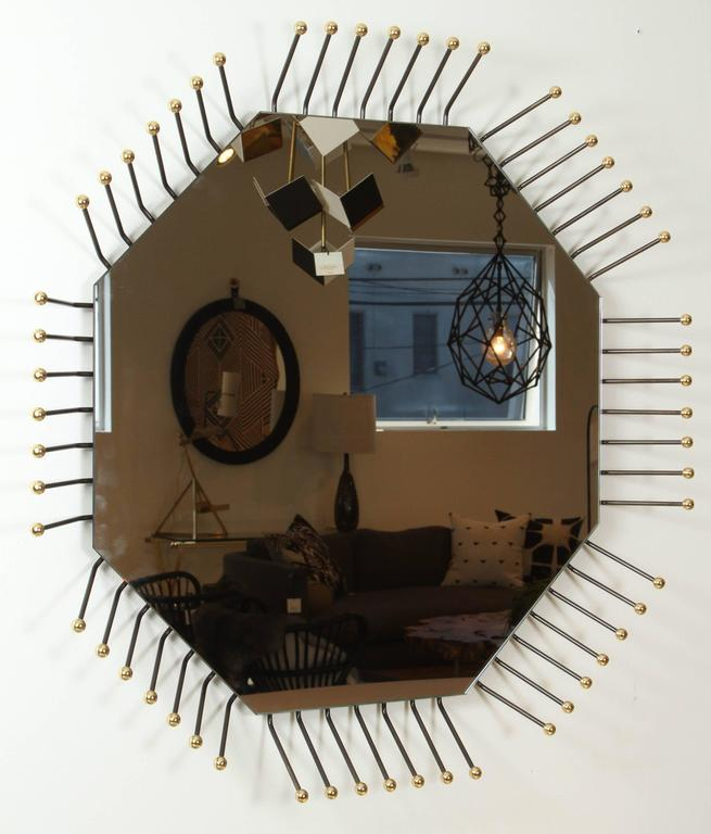 French Mother Board Mirror in Octagon by Collection Particulière For Sale