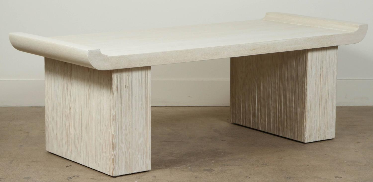 White Washed Combed Bench Or Cocktail Table By Paul Frankl