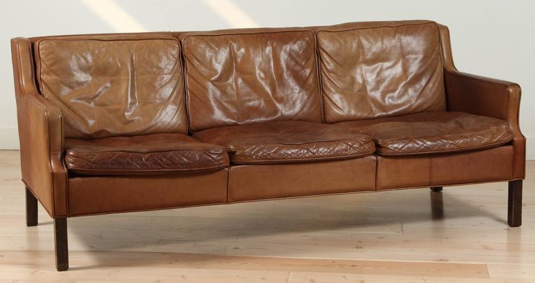 Saddle Leather Sofa By Børge Mogensen Model 2209