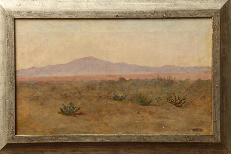 Oil on canvas, circa 1920 - California landscape with distant mountains by Oscar Regan Coast (1851-1931).