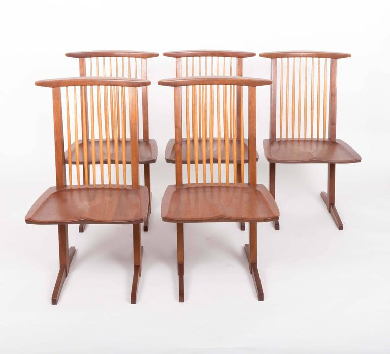 Set of Six Walnut Conoid Chairs by George Nakashima In Excellent Condition For Sale In Sea Cliff, NY