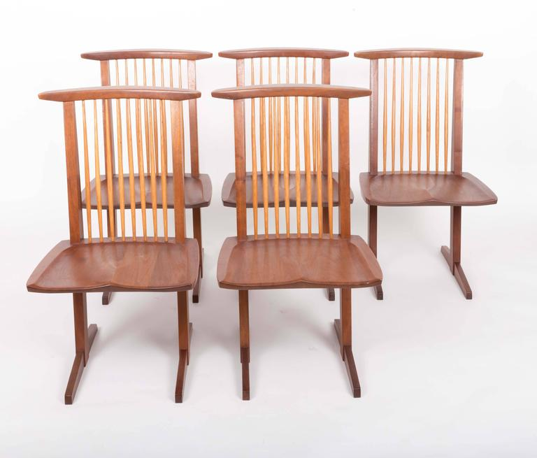 Set of Six Walnut Conoid Chairs by George Nakashima 7