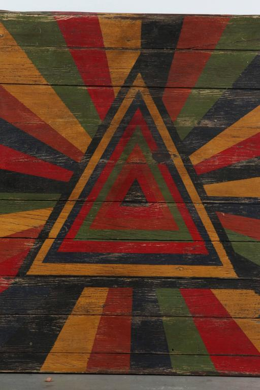 Hand-Painted Anonymous Abstract Pyramid Sunburst Painted Board For Sale