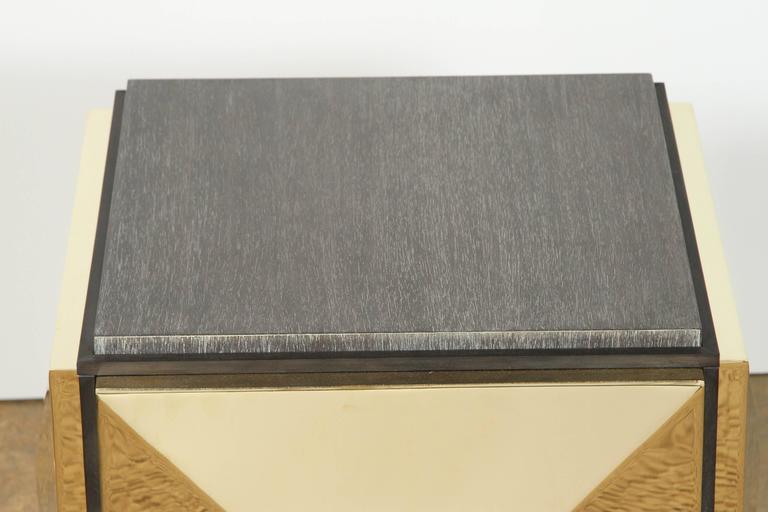Modern Paul Marra Brass Tile Side Table For Sale
