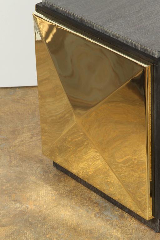 American Paul Marra Brass Tile Side Table For Sale