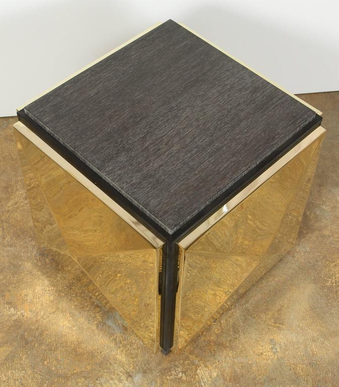 Paul Marra Brass Tile Side Table In Excellent Condition For Sale In Los Angeles, CA
