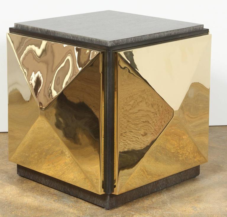 Paul Marra Brass Tile Side Table For Sale 1