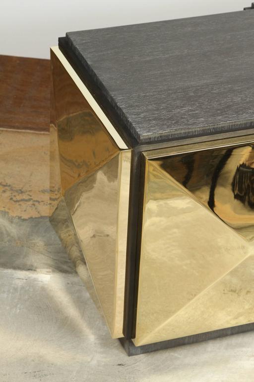 Paul Marra Brass Tile Cocktail Table 2