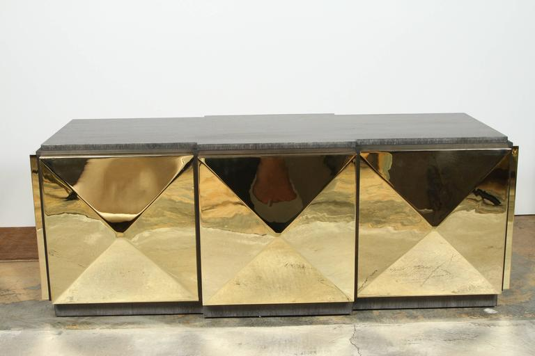 Paul Marra Brass Tile Cocktail Table 7