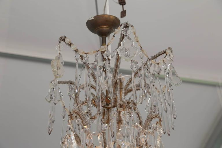 Early 20th Century Italian Cascading Crystal Chandelier from Genoa From The Early 1900s For Sale