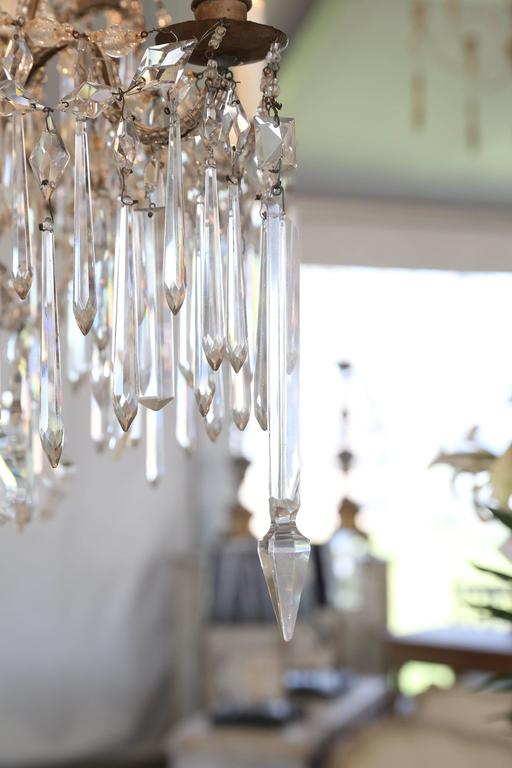 Italian Cascading Crystal Chandelier from Genoa From The Early 1900s For Sale 2