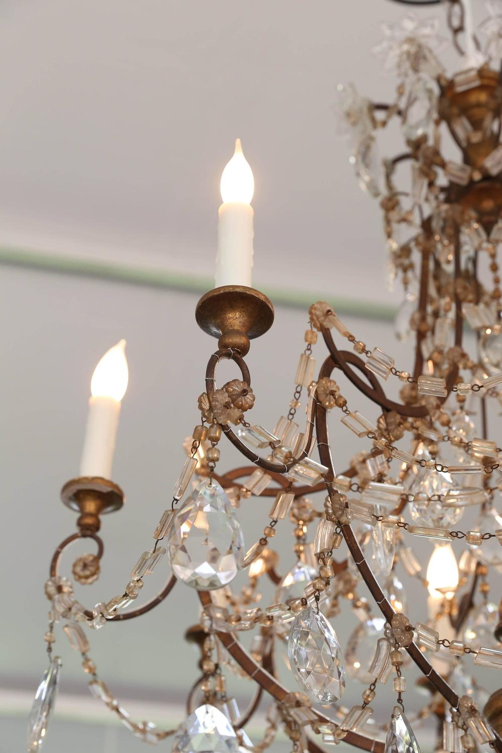 19th Century Italian Genovese Chandelier With Crystal Gold
