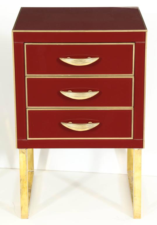 Late 20th Century Rare Pair of Red Opaline Glass Nightstands with Brass Inlay, Italy For Sale