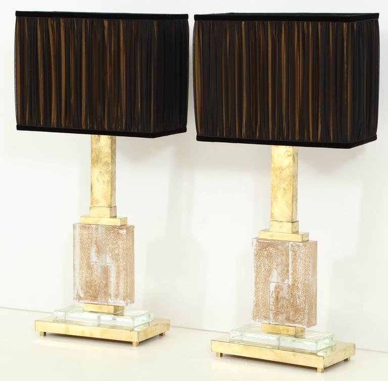 Large Pair of Italian Brass and Murano Glass Lamps with Infused Gold Specks 2