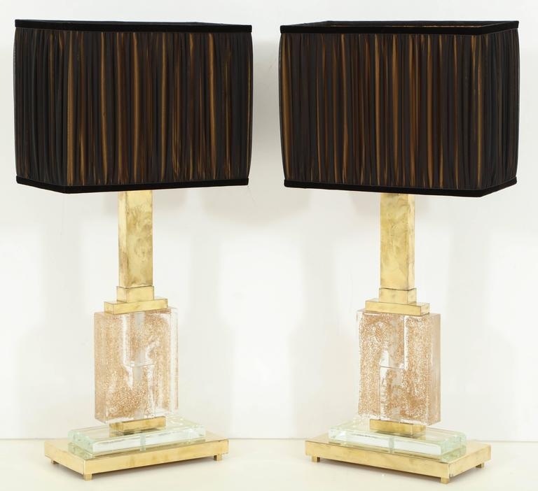 Large Pair of Italian Brass and Murano Glass Lamps with Infused Gold Specks 7