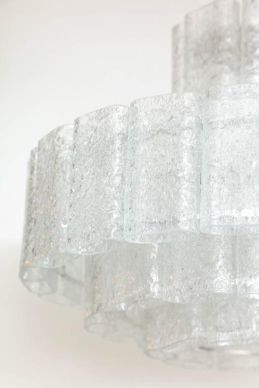 Scandinavian Modern Doria Four-Tier Ice Glass Chandelier For Sale