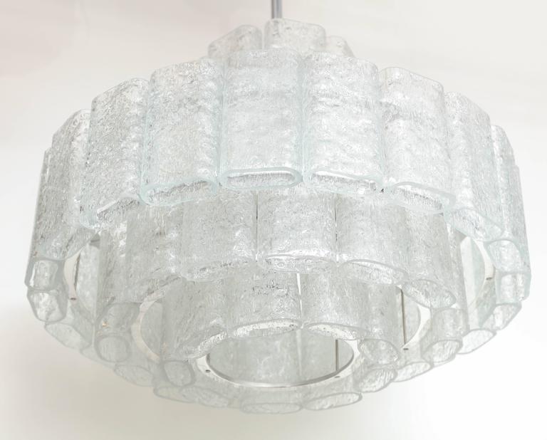 German Doria Four-Tier Ice Glass Chandelier For Sale