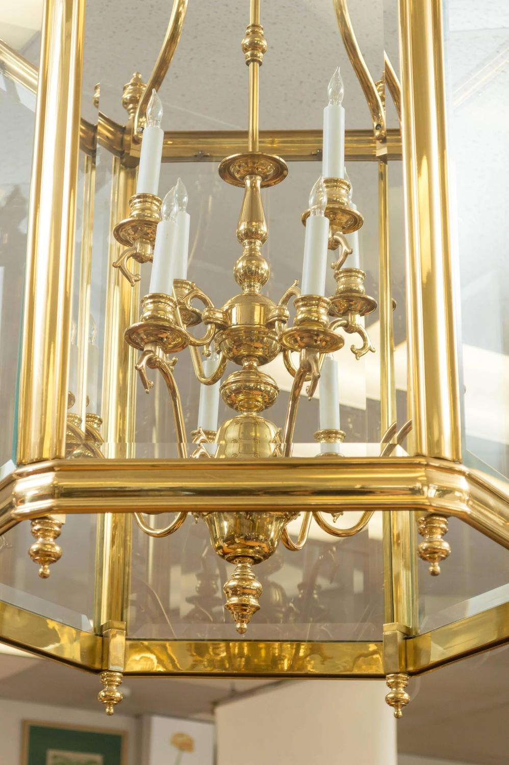 Art Glass Foyer Light : Monumental brass and glass twelve light foyer pendant for