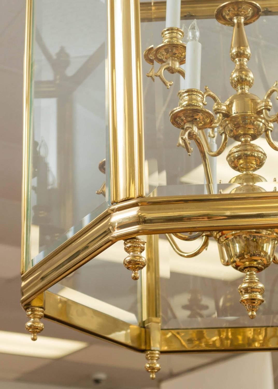 Foyer Chandelier Window : Monumental brass and glass twelve light foyer pendant for