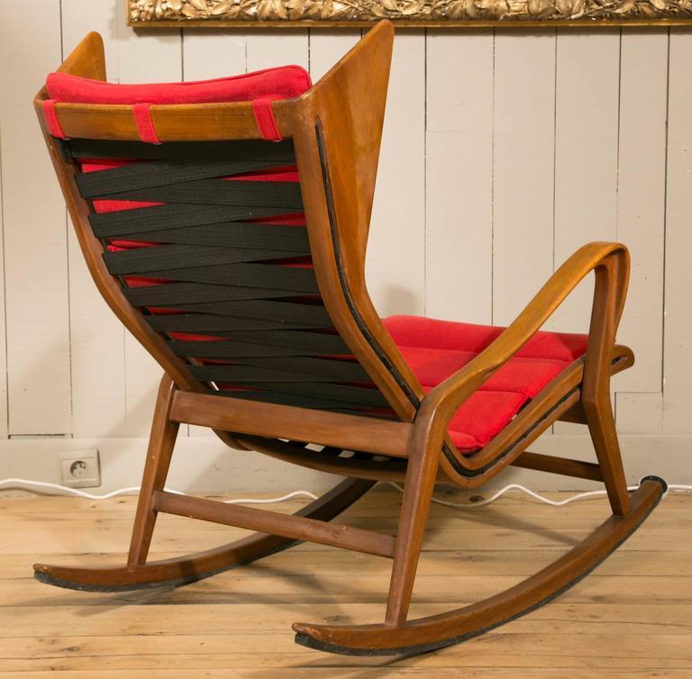 Rocking Chair In Walnut Attributed To Gio Ponti Circa