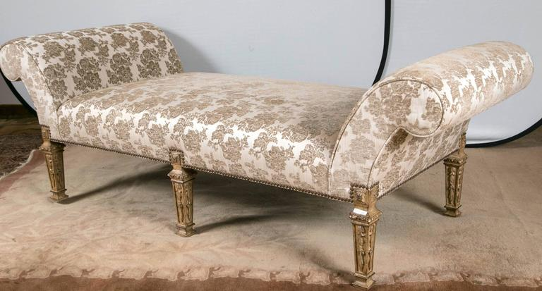 Louis xvi style six legged upholstered chaise lounge bench at 1stdibs for Chaise style louis xvi occasion