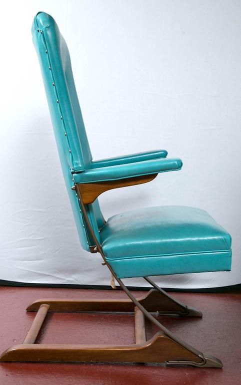 Set Of Six Blue Mid Century McKay Spring Rocker Rocking Chair 3
