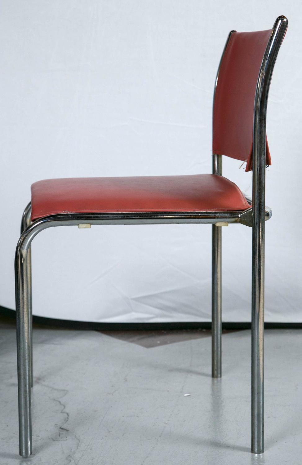 Set Of Ten Thonet Chrome And Leather Side Chairs Style Of Mies Van Der Rohe A