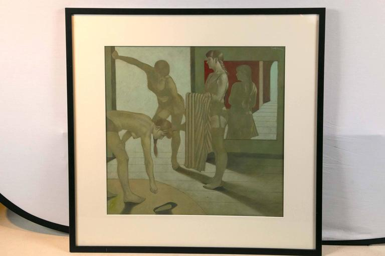A moody painting of women at the bath expertly painted oil on board custom framed and matted.