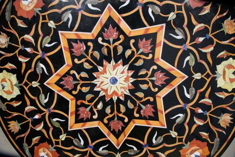 Inlay Black Marble Ground Pietra Dura Tabletop For Sale