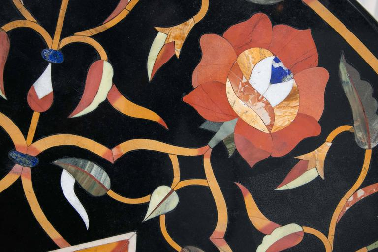 Black Marble Ground Pietra Dura Tabletop In Excellent Condition For Sale In Woodbury, CT
