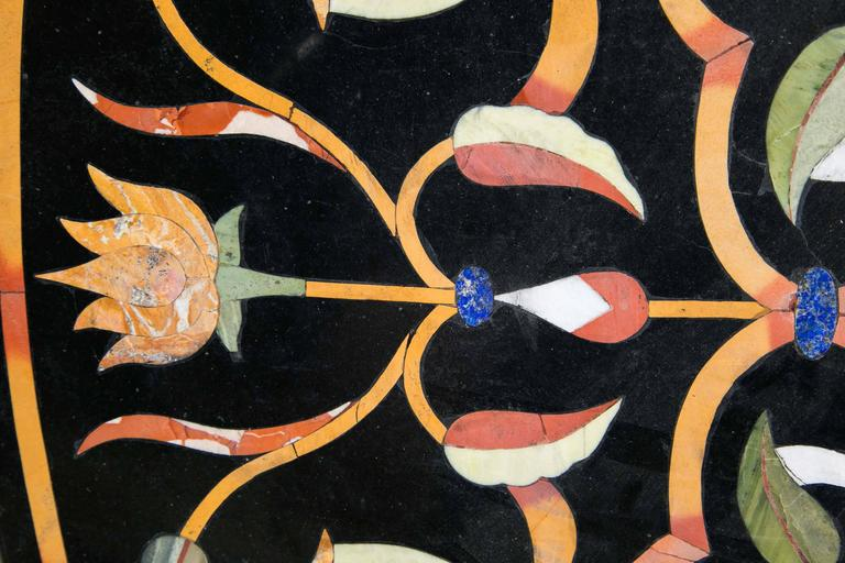 20th Century Black Marble Ground Pietra Dura Tabletop For Sale