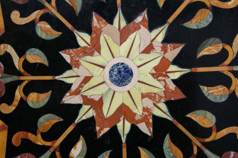 Black Marble Ground Pietra Dura Tabletop For Sale 1