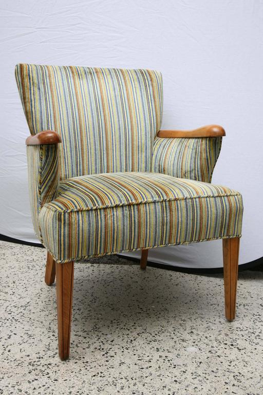 Velvet Striped Upholstered Chair With Wood Arms And Legs By Heywood  Wakefield, 1960s, USA