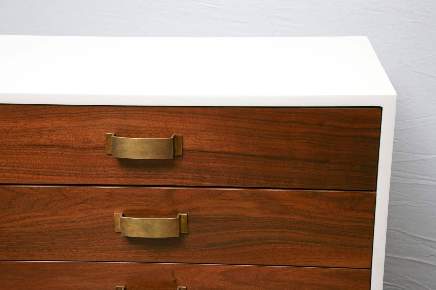Pair of mid century modern two tone wood cabinets commodes for Two tone wood cabinets
