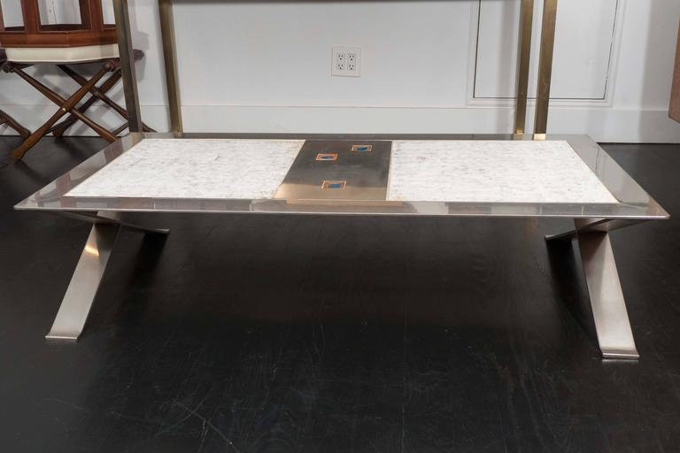 French studio stainless steel table with glazed ceramic. X-base. Incredibly strong, great quality and execution. Original finish.