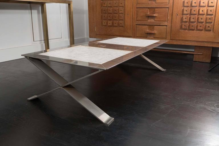 20th Century Stainless Steel and Ceramic Table For Sale