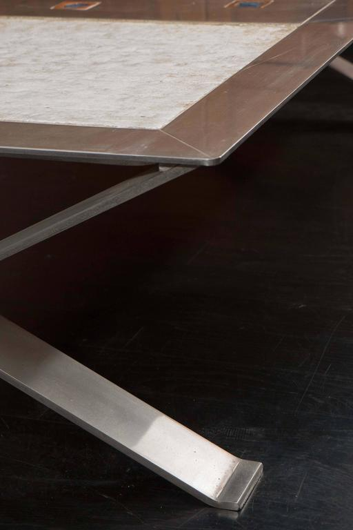 Stainless Steel and Ceramic Table For Sale 2