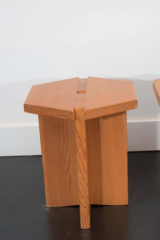 Pair of artful studio stools from France. Made of 1 1/4