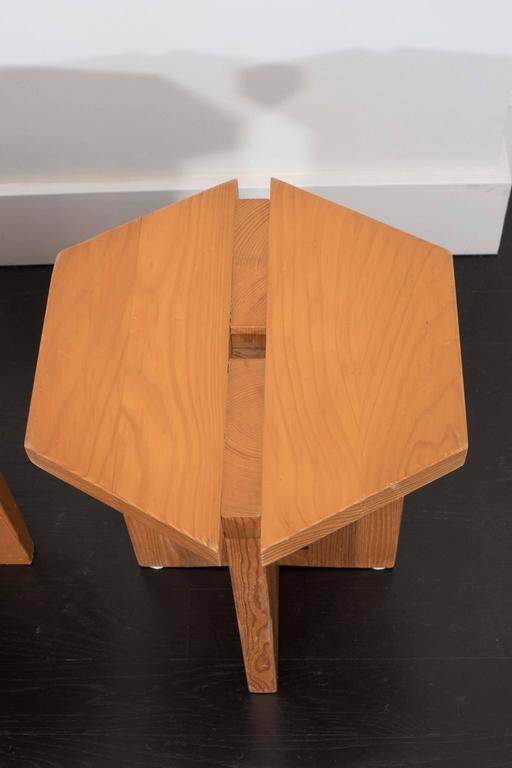 French Studio Hexagon Stools In Good Condition For Sale In New York, NY