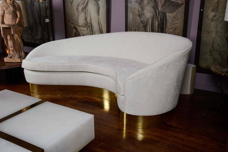 Modern Brass and Fabric Curved Sofa For Sale