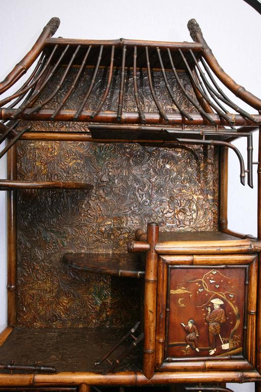 Rare 19th Century English Bamboo Pagoda Etagere with Ivory Accent 6
