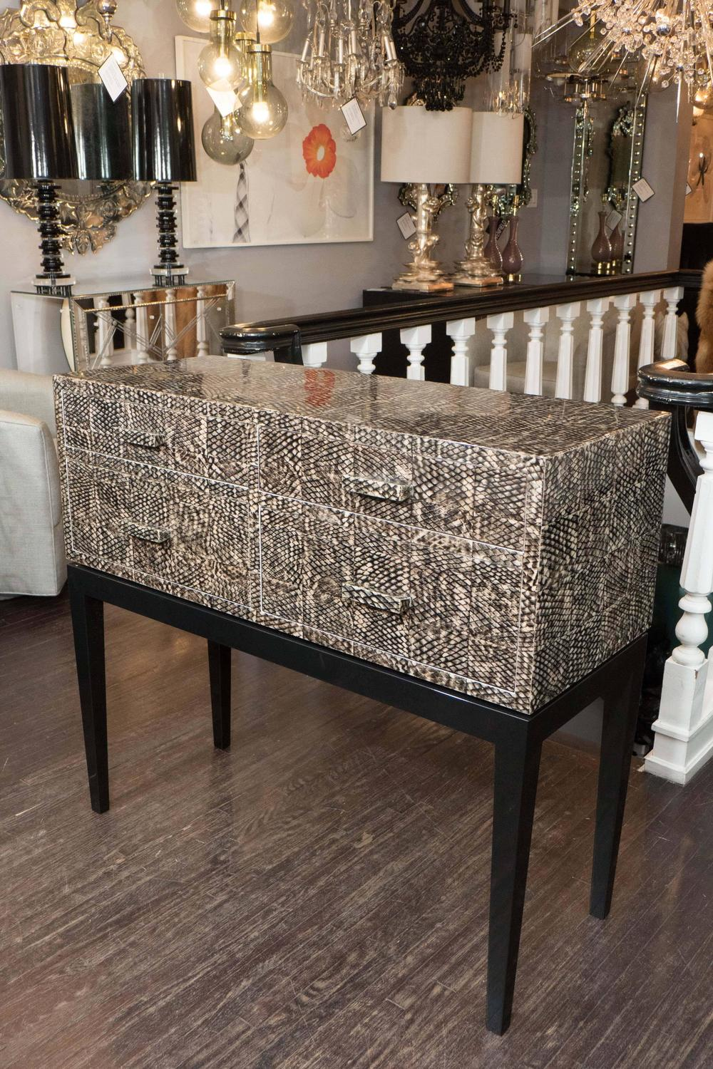 Golden Fish Skin Veneer Console Table For Sale At 1stdibs